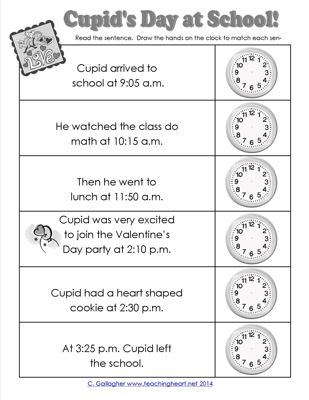 Cupid Tells Time Too Free To Print Teaching Heart Blog
