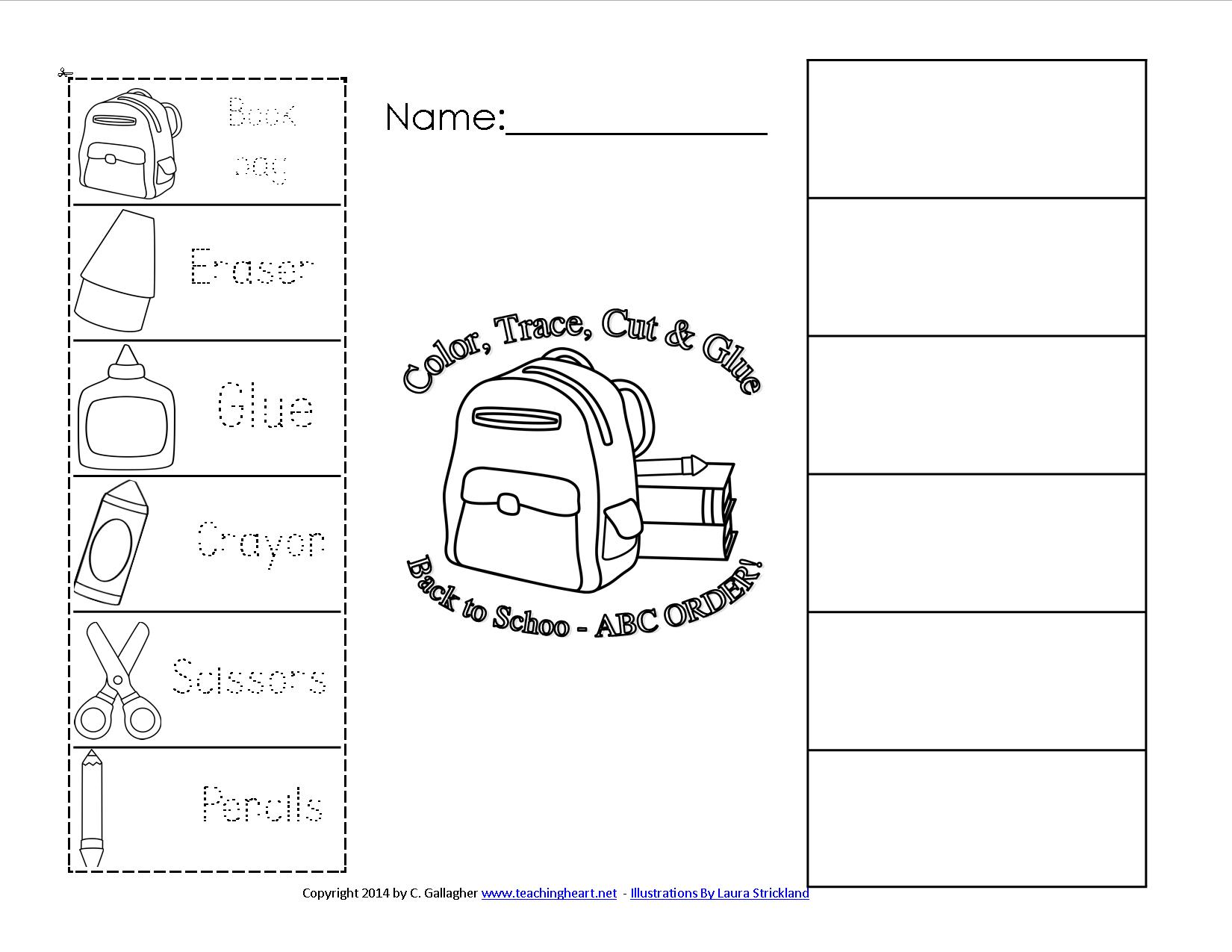Back To School Abc Order Free To Print Teaching Heart Blog