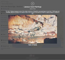 Pop-up image of the Lascaux cave paintings of bulls and other animals
