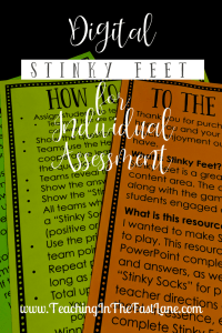Are you looking for a creative, engaging way to assess your students? Give Digital Stinky Feet a try! This is the same game your students love to play whole group tweaked just a tiny bit to make the perfect independent assessment!