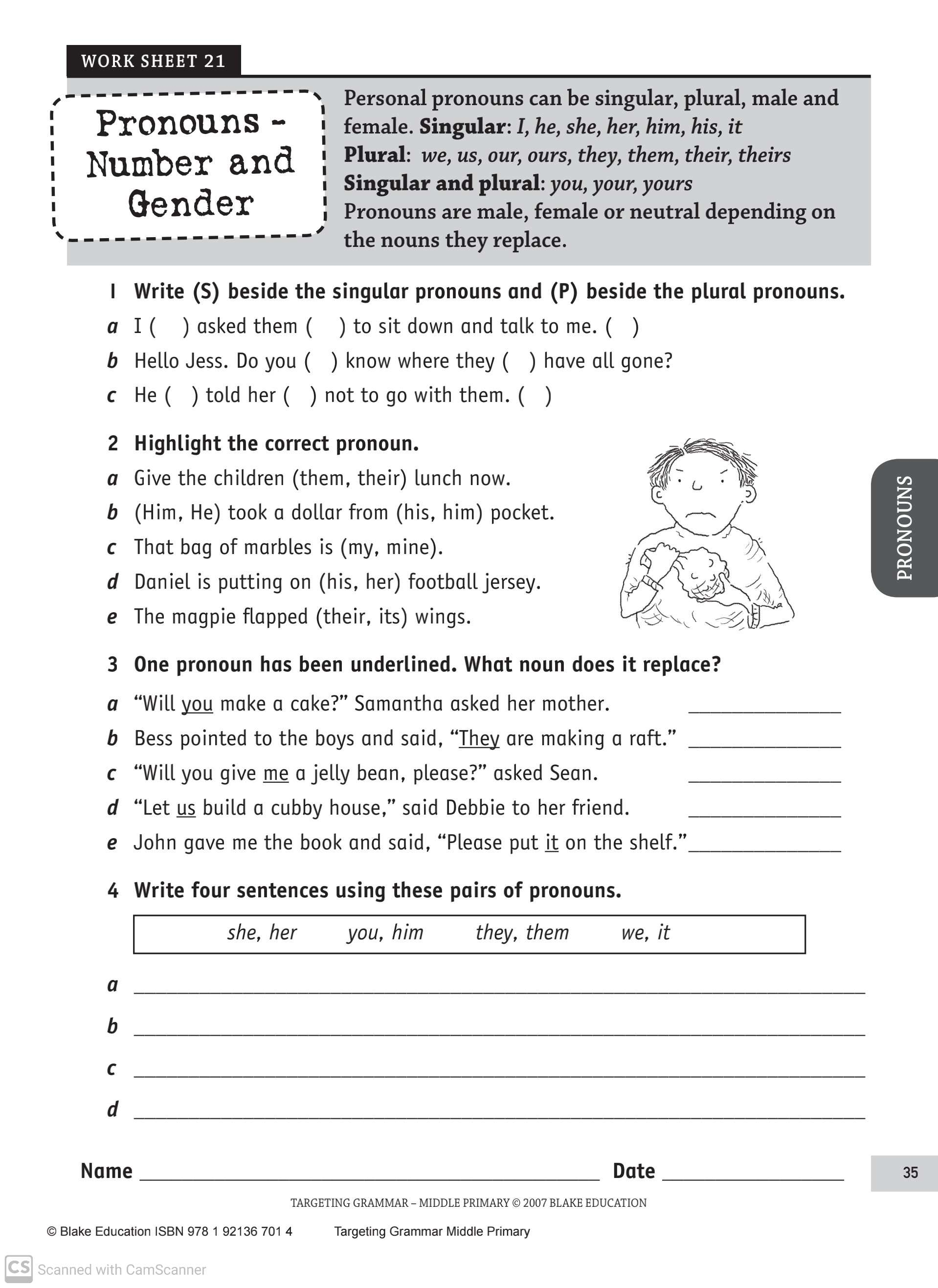 Pronouns Worksheets For Grade 3 Teaching Kids To Read