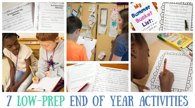 7 low prep end of the year activity ideas for 3rd grade, 4th grade, and 5th grade students
