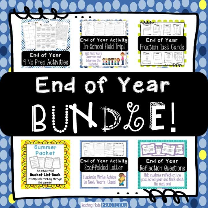 End of year bundle with low prep activities including a letter to next year's class, a summer packet, word searches, reflection questions, and more