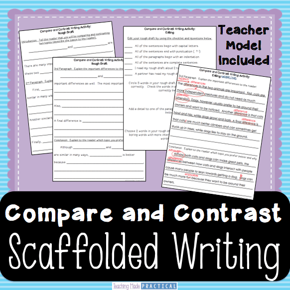 Compare and Contrast Essay - Scaffolded Writing for 3rd grade, 4th grade, or 5th grade students.