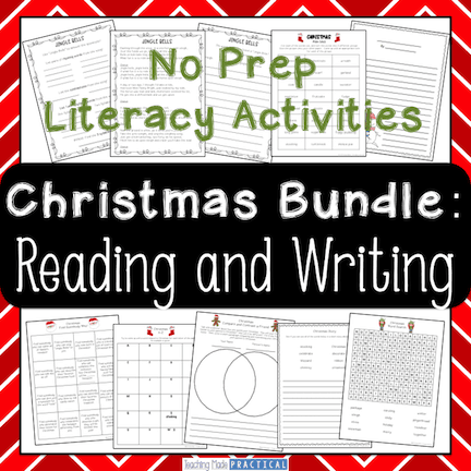 No Prep Christmas literacy activities for 3rd grade and 4th grade