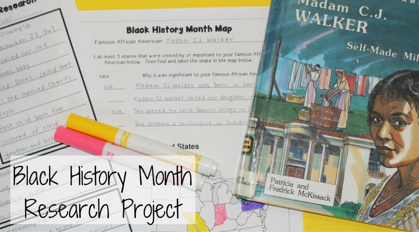 Black History Month Research Project - scaffolded to help 3rd grade and 4th grade students write a successful essay, complete a timeline, and fill in a map.