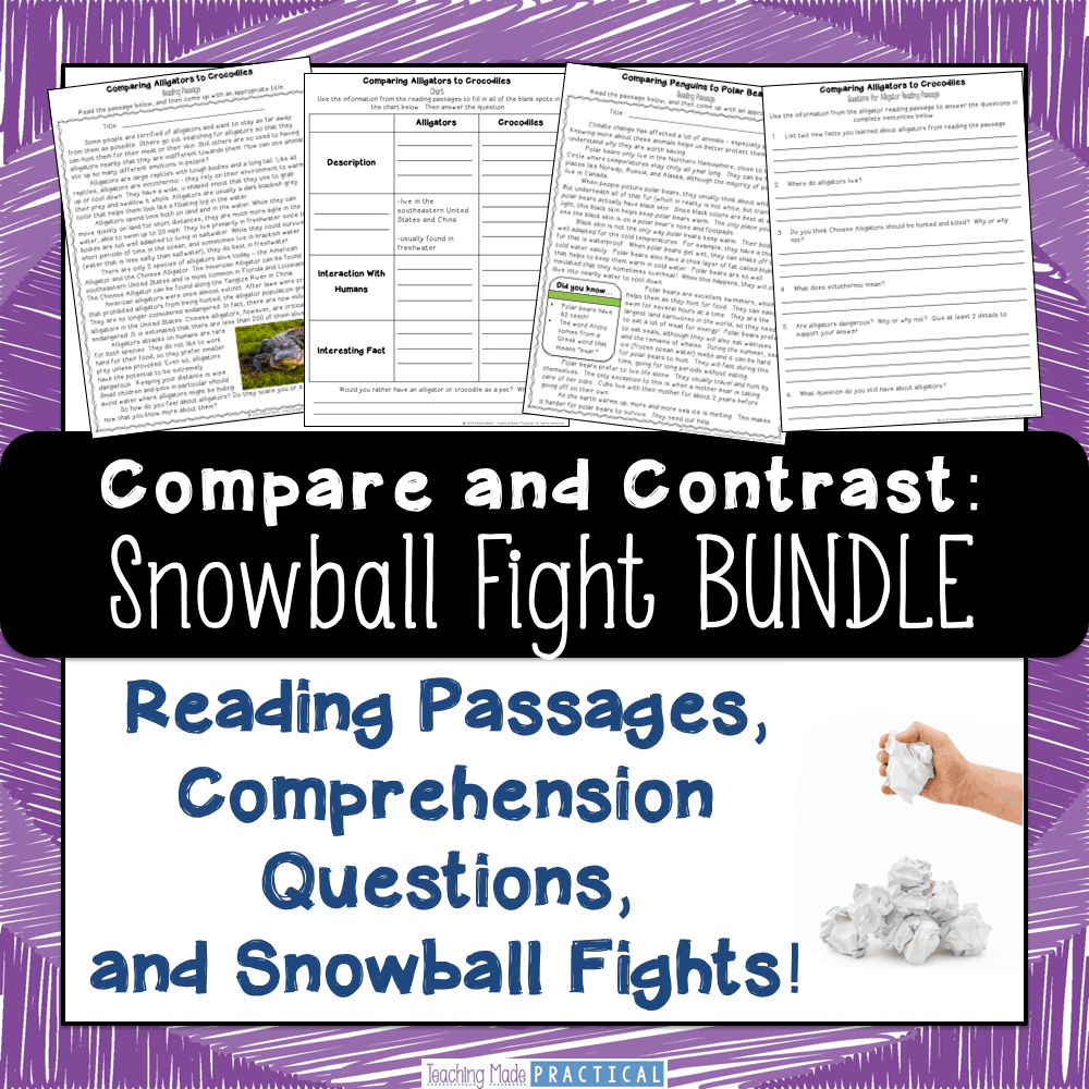 no prep snowball fights - an engaging reading comprehension activity to help 3rd grade, 4th grade, and 5th grade students compare and contrast