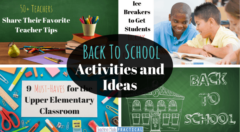 Back to School Activities and Ideas to help upper elementary teacher prepare for a new school year