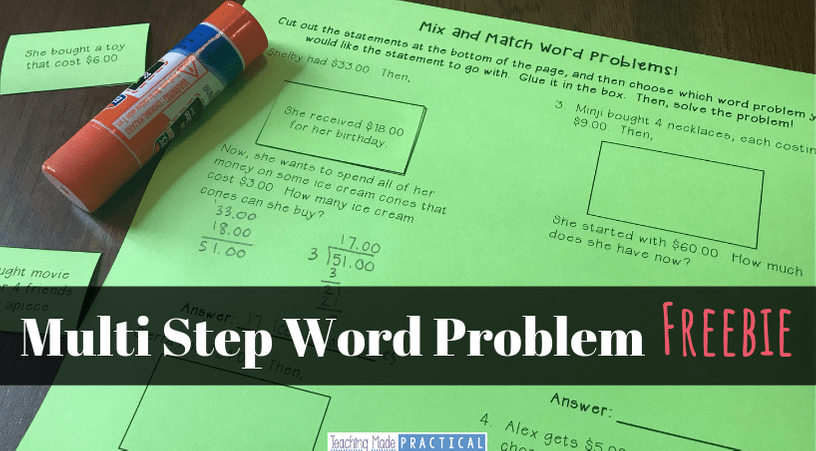 Free Multi Step Word Problem Resource for 3rd, 4th, and 5th grade students - extra word problem practice