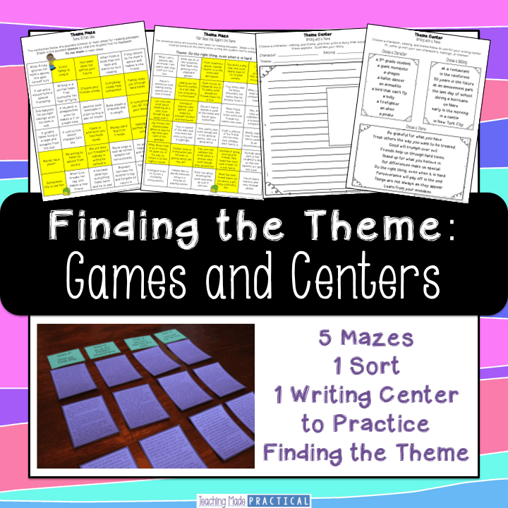 Finding the theme games and center activities for third, fourth, and fifth grade students