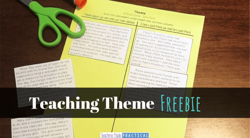 Free cut and paste resource for teaching theme. Can be used as a center