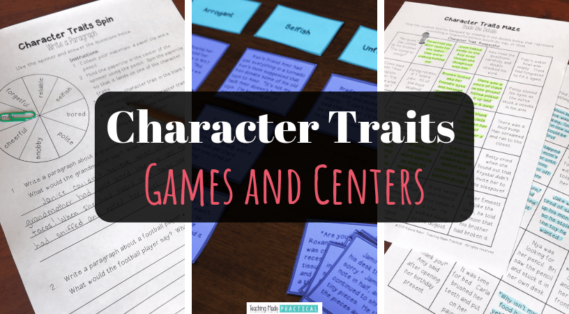 Character Trait Games and Centers for 3rd and 4th grade students