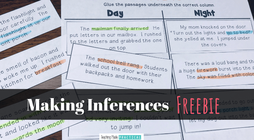 A free cut and paste activity for 2nd and 3rd grade students to practice making inferences - makes a great small group, center or independent lesson.