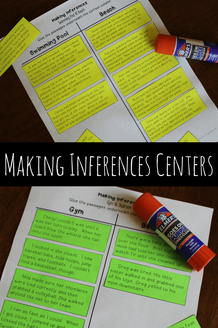 Cut and paste activity for 3rd and 4th grade students to help them practice making inferences