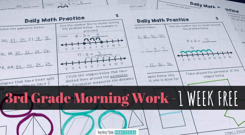 Get one week of 3rd grade morning work free - covers 5 different math domains and provides scaffolded daily math practice