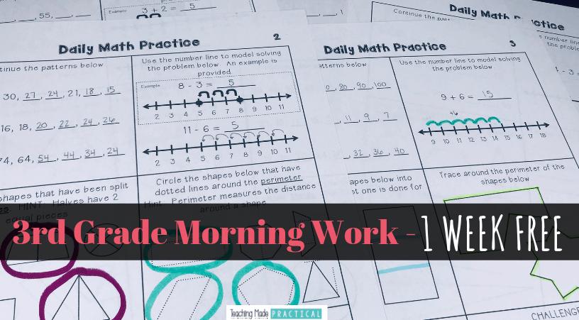 Free 3rd Grade Math Morning Work - 5 Days - Teaching Made Practical