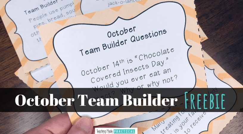 This October freebie is great for morning meetings, team building or ice breaker activities, writing prompts, or oral and listening practice in 3rd, 4th, and 5th grade. Students answer fun, October themed questions.
