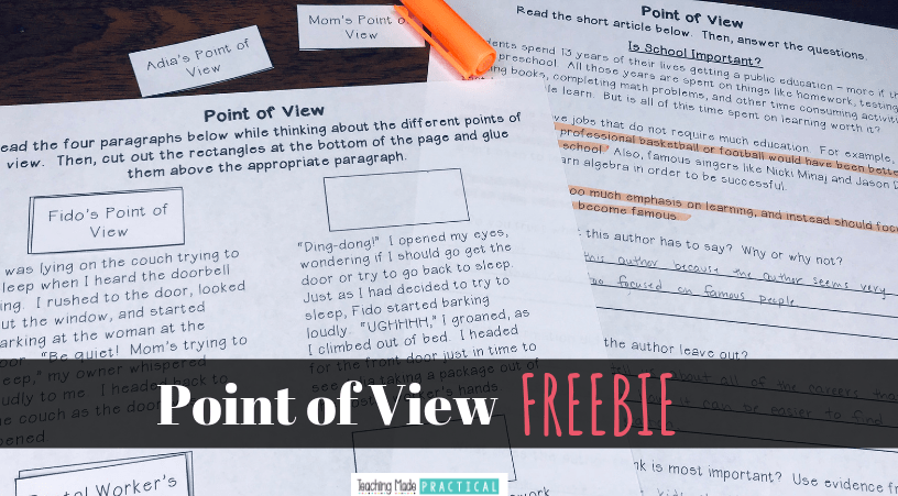 Use this freebie to help you teach point of view and author's perspective to your 3rd and 4th grade students. Includes a cut and paste activity a short, clearly biased reading passage with questions.