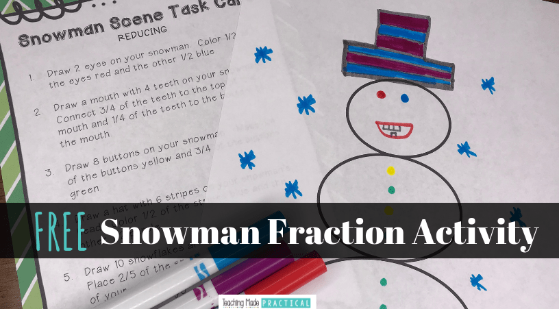 A fraction freebie that has students use fractions to create a winter scene.  You can differentiate by requiring students to reduce (or not reduce) their fractions.