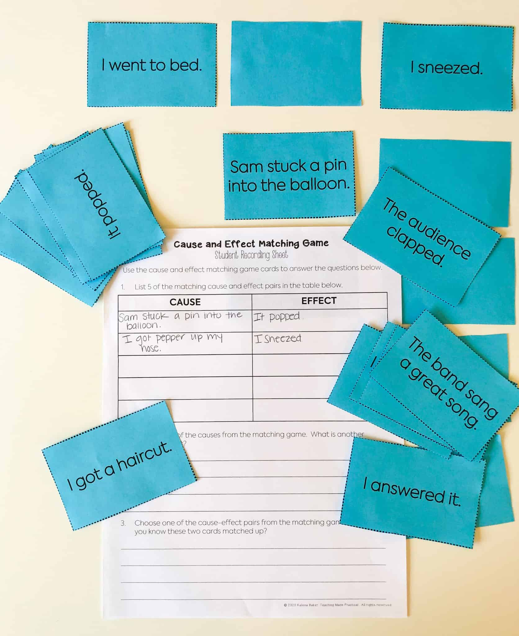 This cause and effect sort helps upper elementary students think about chain of events