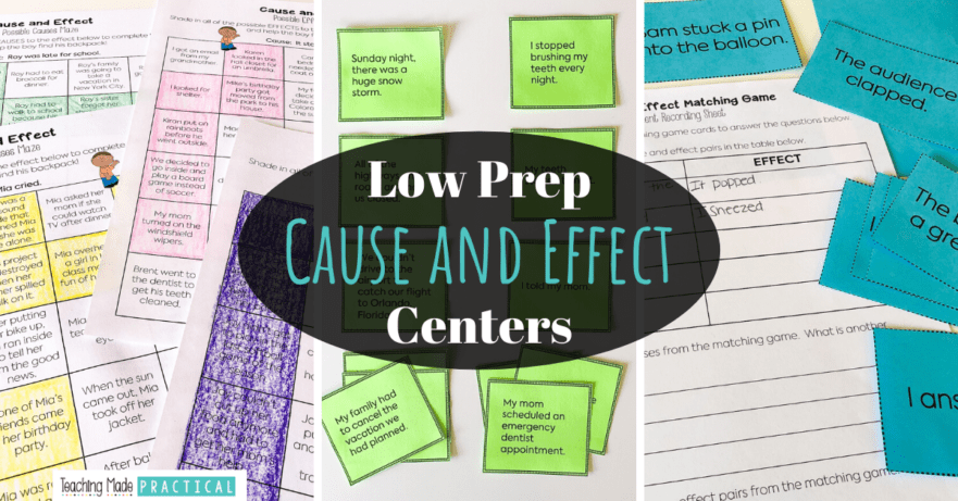 Use these low prep cause and effect games and centers for extra practice or review in 3rd and 4th grade