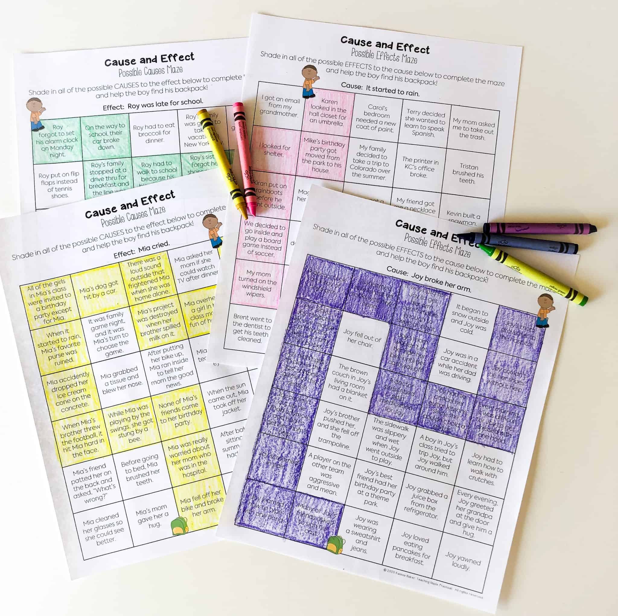 Use these cause and effect mazes to help your 3rd, 4th, and 5th grade students practice multiple causes and multiple effects