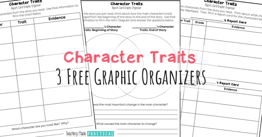 Use these 3 free graphic organizers with 3rd, 4th, and 5th grade students learning about character traits. They can be used with different fiction texts.