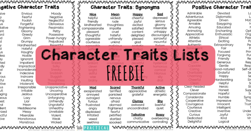 Free Character Trait Lists to help making teaching character traits to 3rd, 4th, and 5th grade students easier - includes positive traits, negative traits, and character traits sorted by synonyms