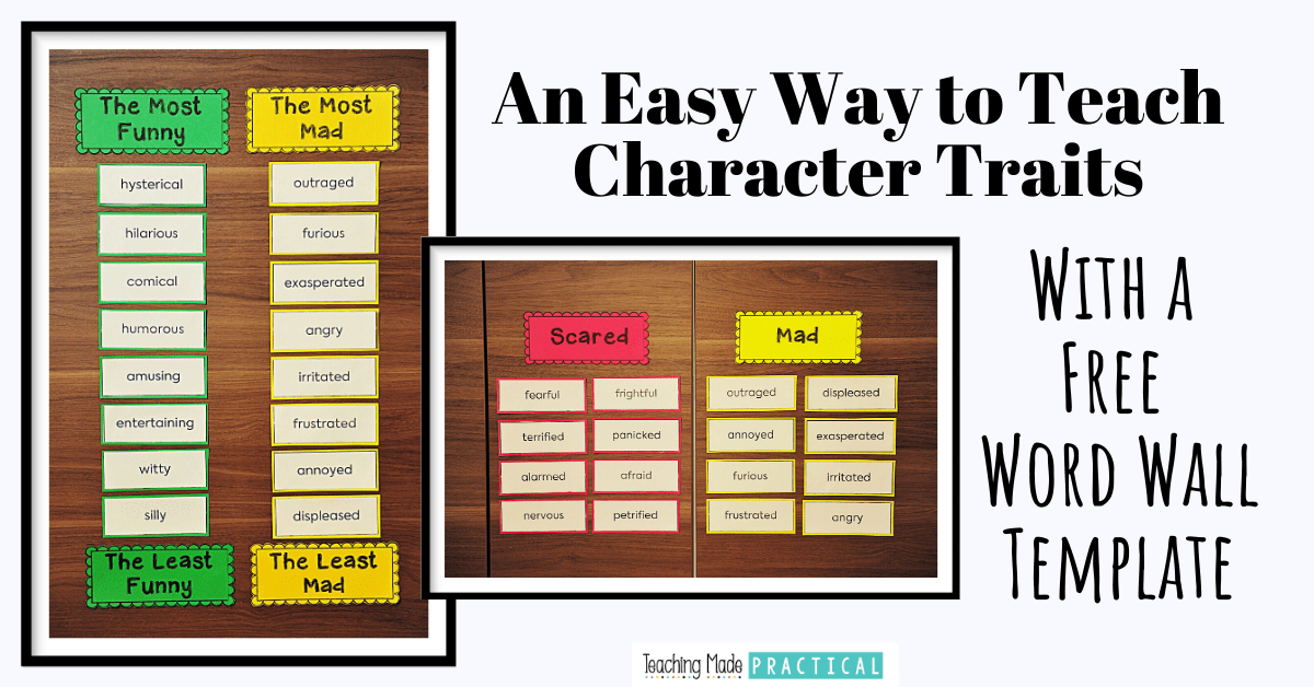 Use this free character trait word wall template as an easy way to help build character trait vocabulary with 3rd, 4th, and 5th grade students