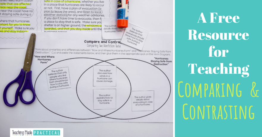 Free compare and contrast activity (pdf) for 3rd and 4th grade students