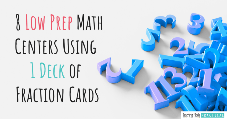 Use fraction cards for a variety of low prep math games in 3rd, 4th, and 5th grade