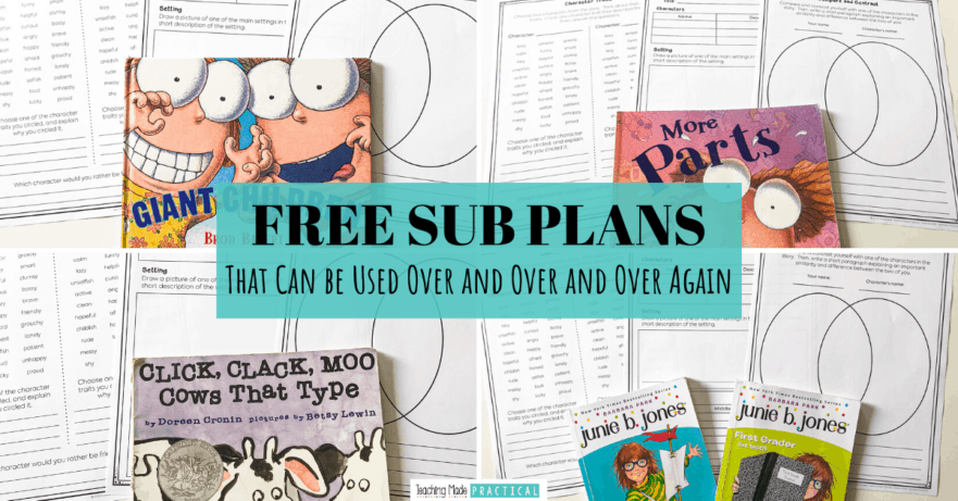 These free sub plans can be used repeatedly in case of an emergency or sick day