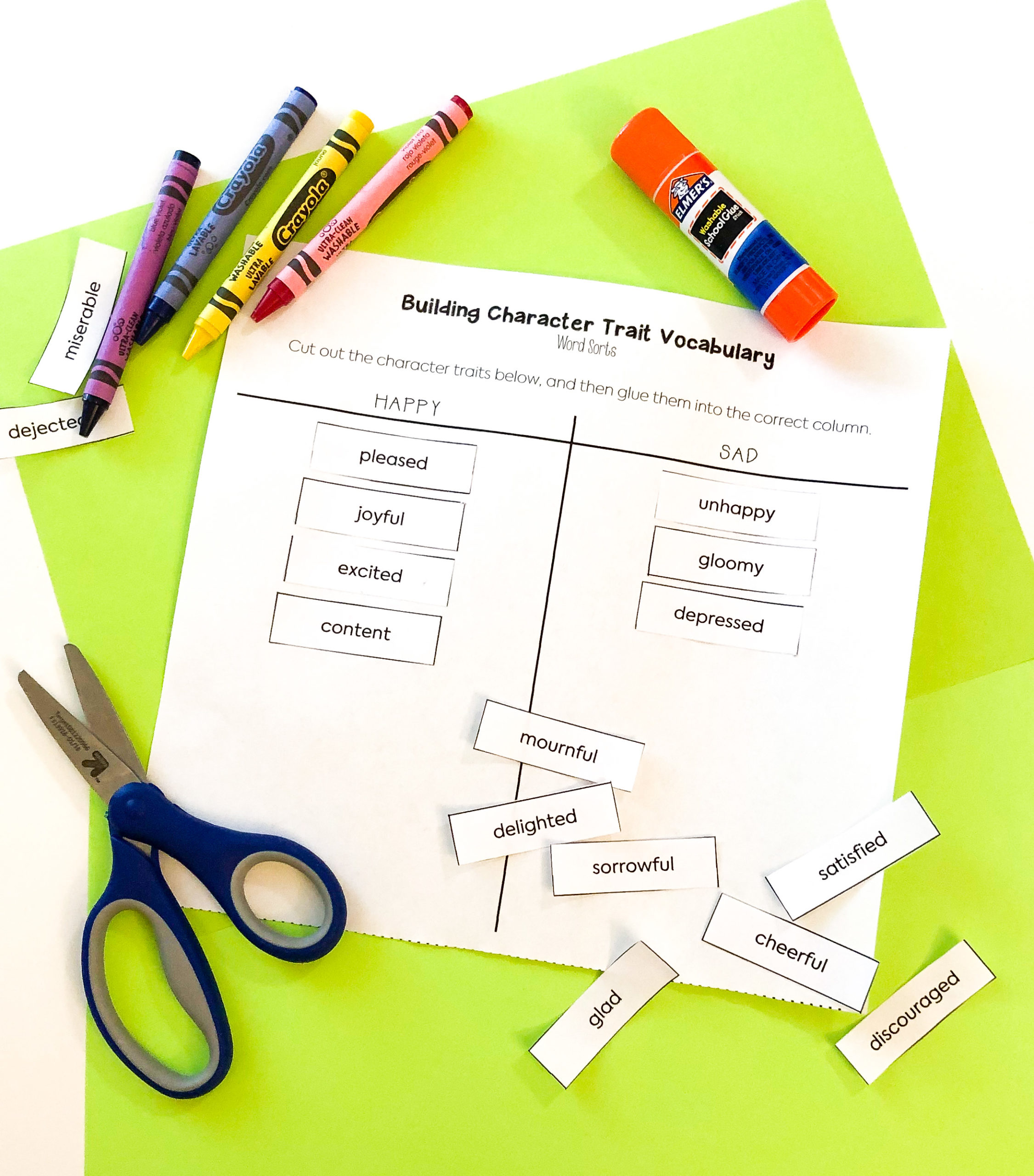 These word sort worksheets are an engaging way to help students practice with different character trait vocabulary