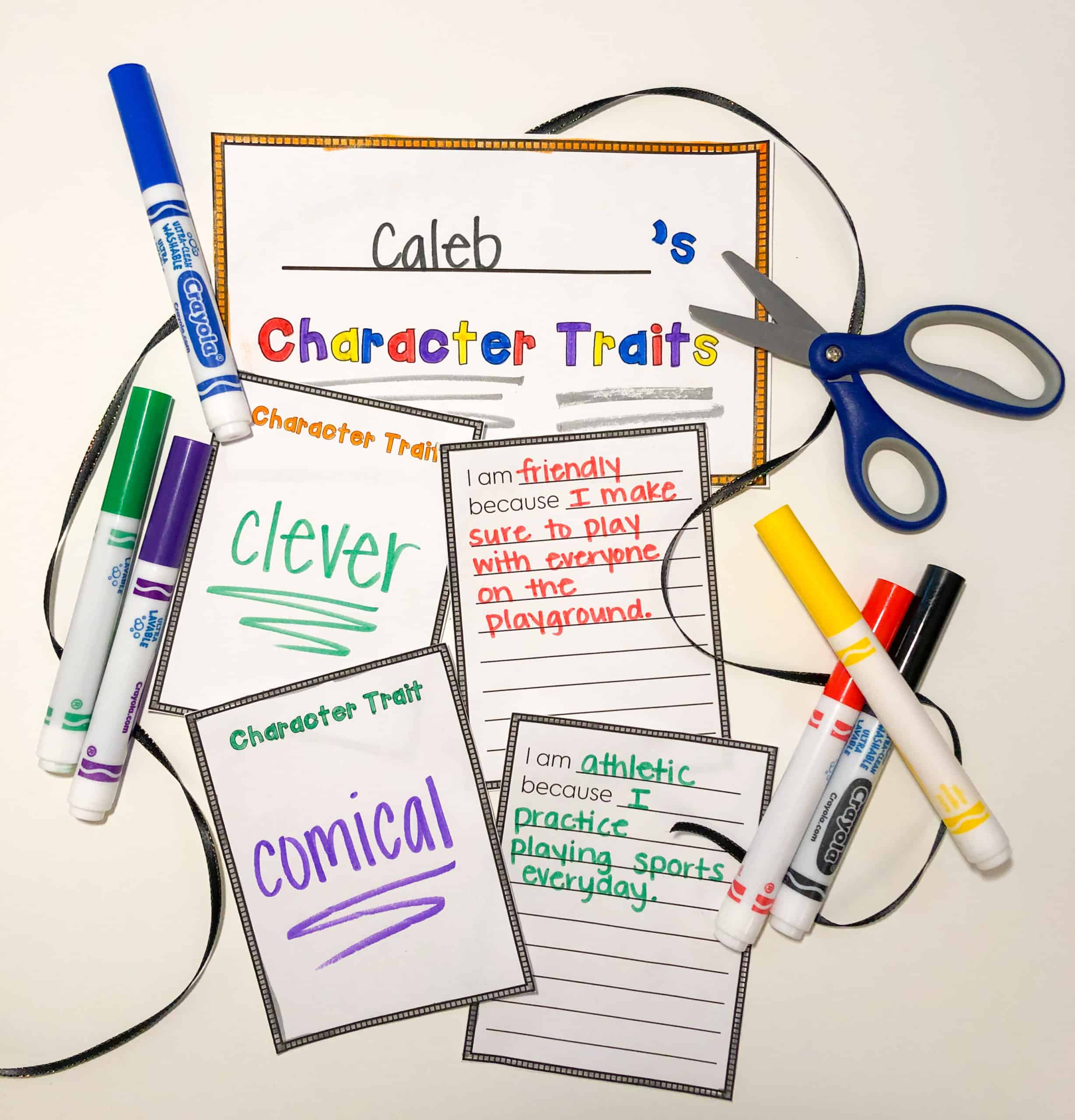This character traits mobile freebie makes a great display for Parent Teacher Conferences or Open House