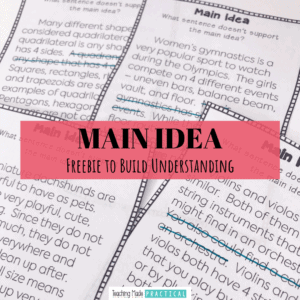 Main Idea Free Printable for 3rd, 4th, and 5th grade students