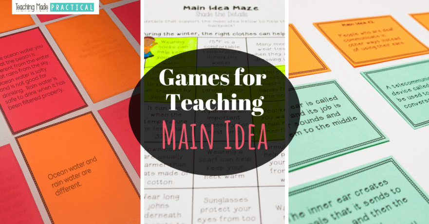 Make teaching main idea more exciting with these main idea games/centers for 3rd, 4th, and 5th grade students