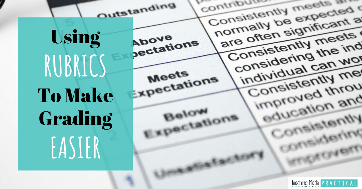 Rubrics make grading 3rd, 4th, and 5th grade student work much easier and more transparent