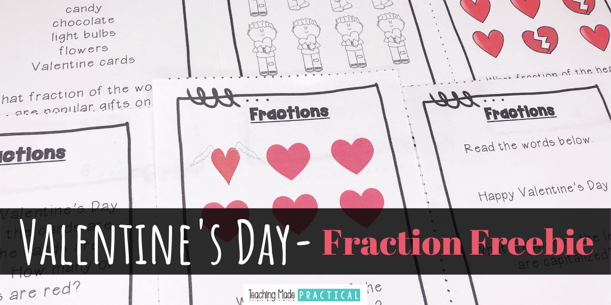 This free Valentine's Day resource is a great way to review fractions in February.