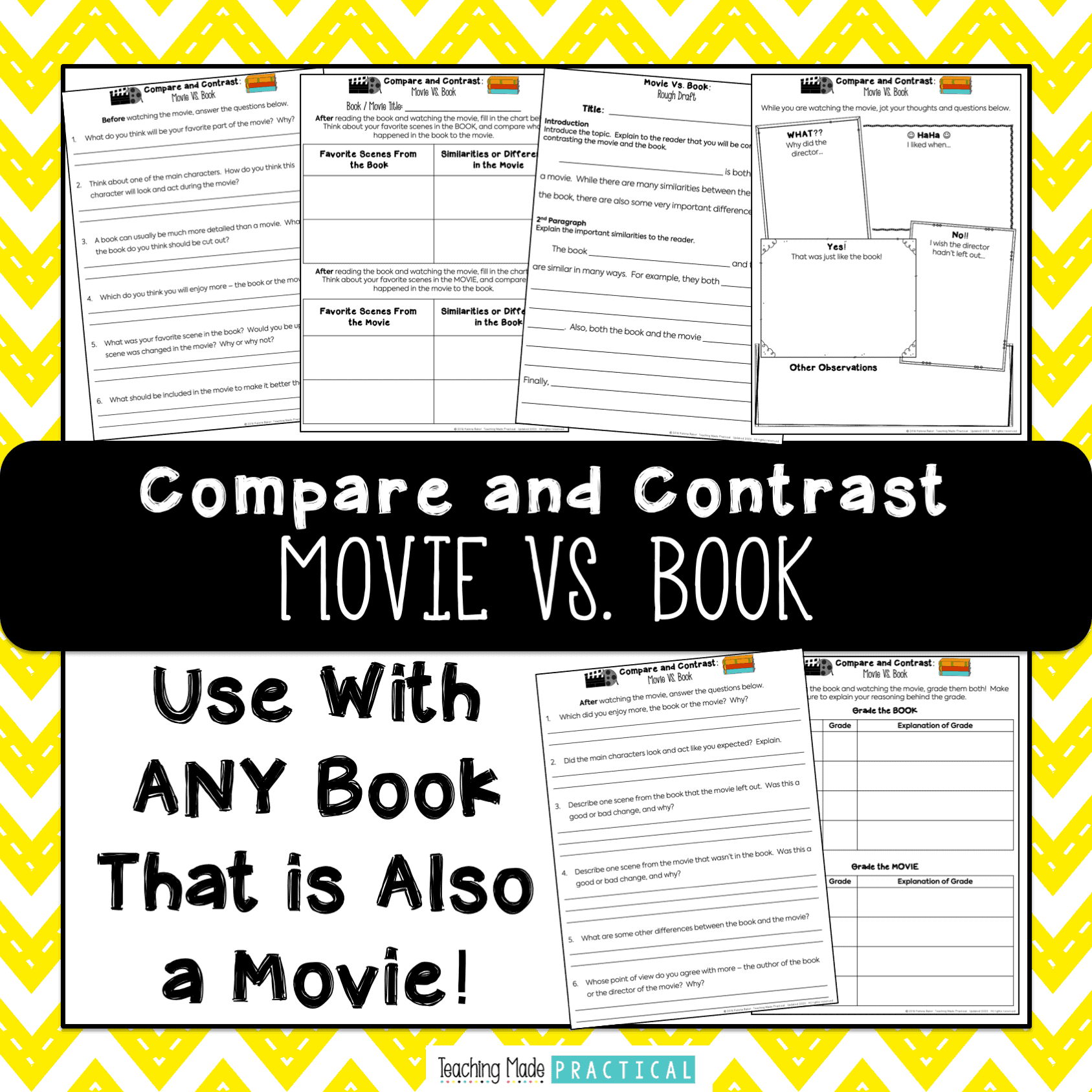 No prep activities and questions to help students compare and contrast a book with its movie version in 3rd or 4th grade