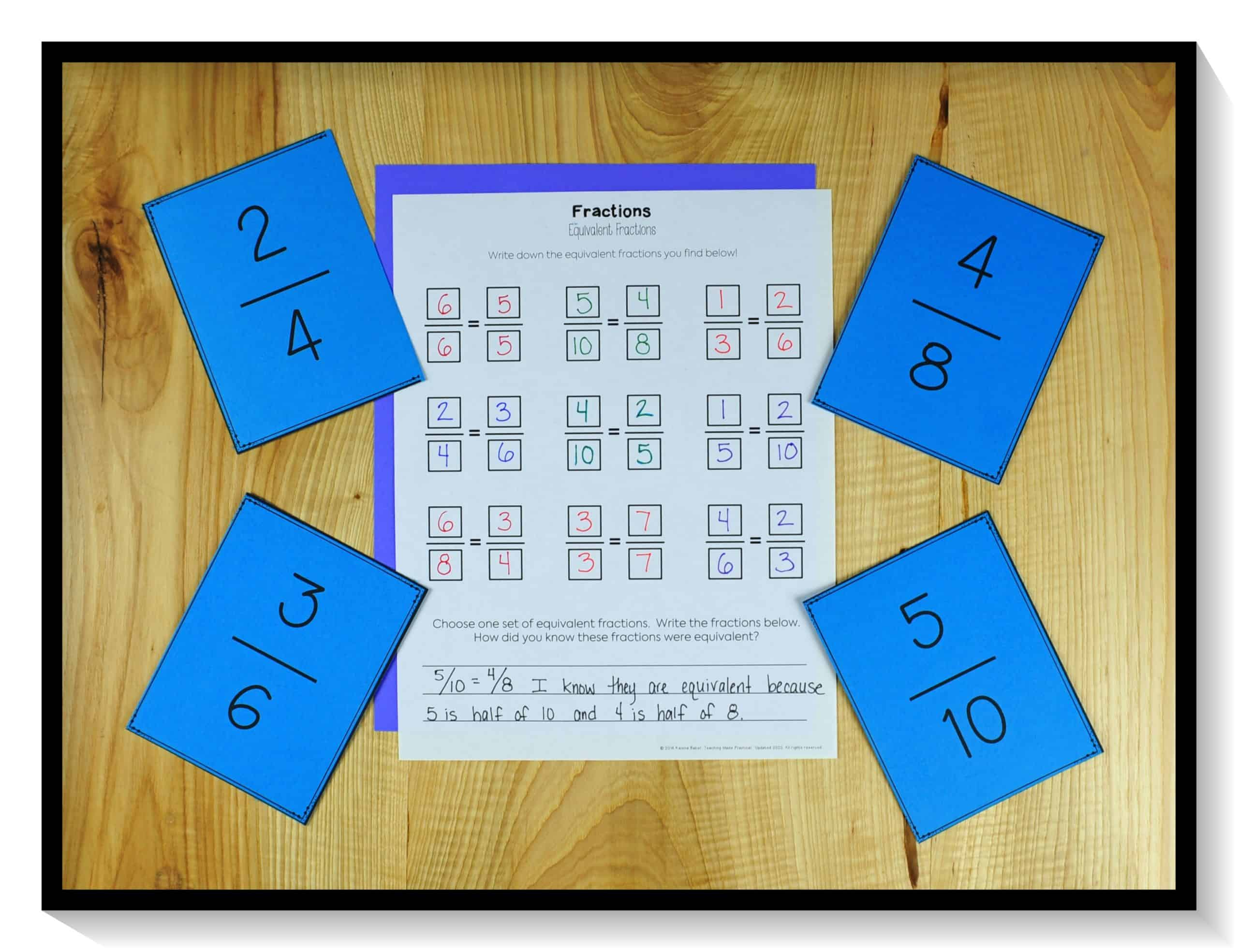 Use fraction cards and a no prep student recording sheet to help your students practice finding equivalent fractions