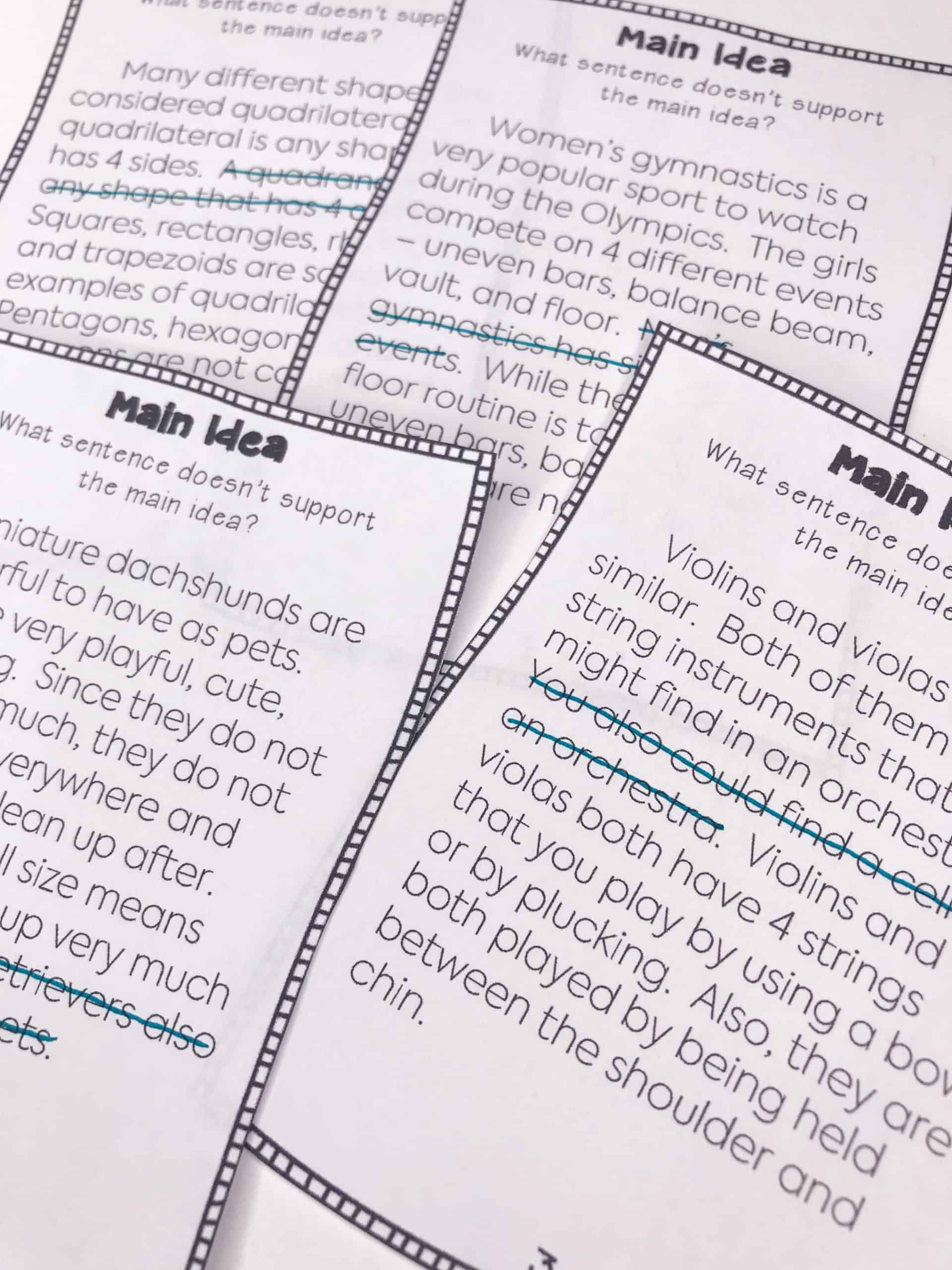 This main idea activity requires students to think about what details in a paragraph are not supporting the main idea