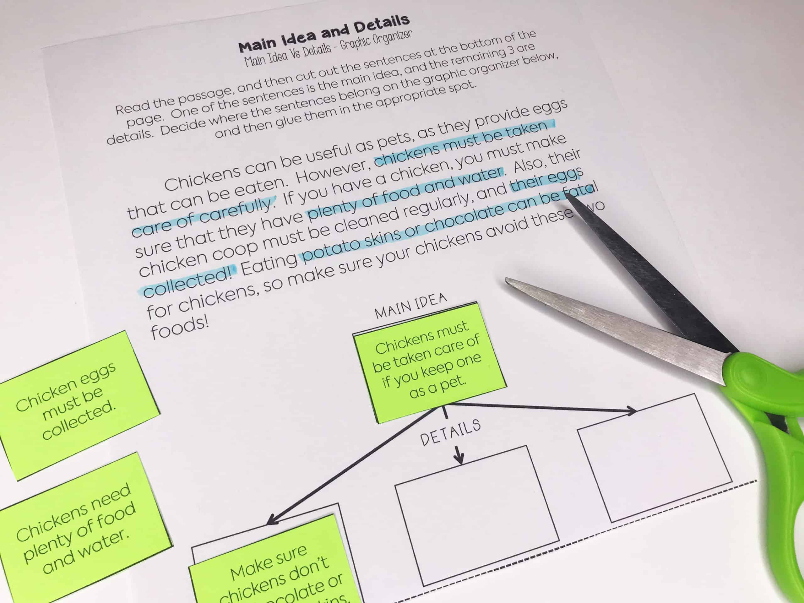 Scaffolded graphic organizers are a great way to teach students how to distinguish between the main idea and details