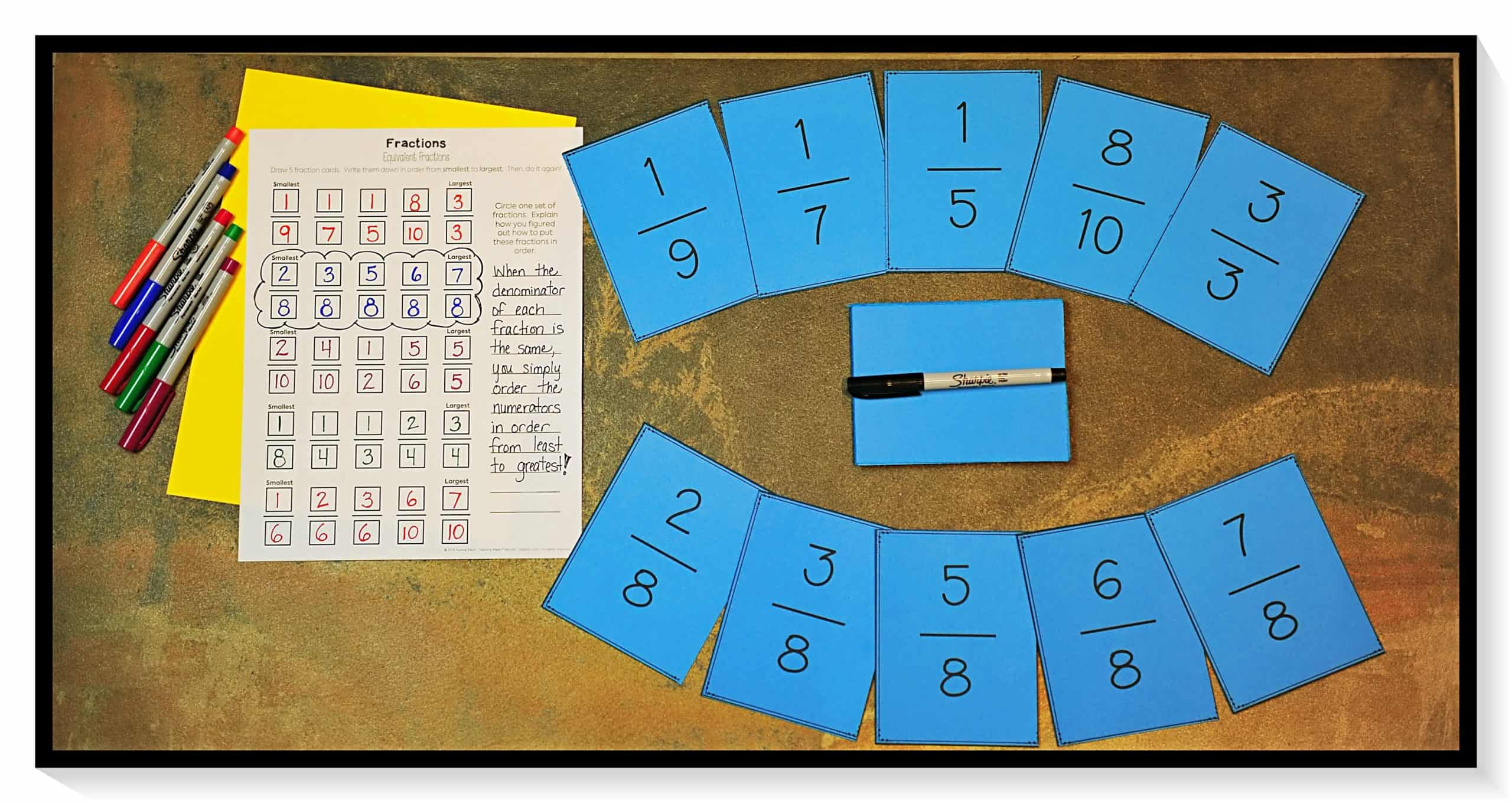 use fraction cards for a low prep math center where students practice comparing and ordering fractions