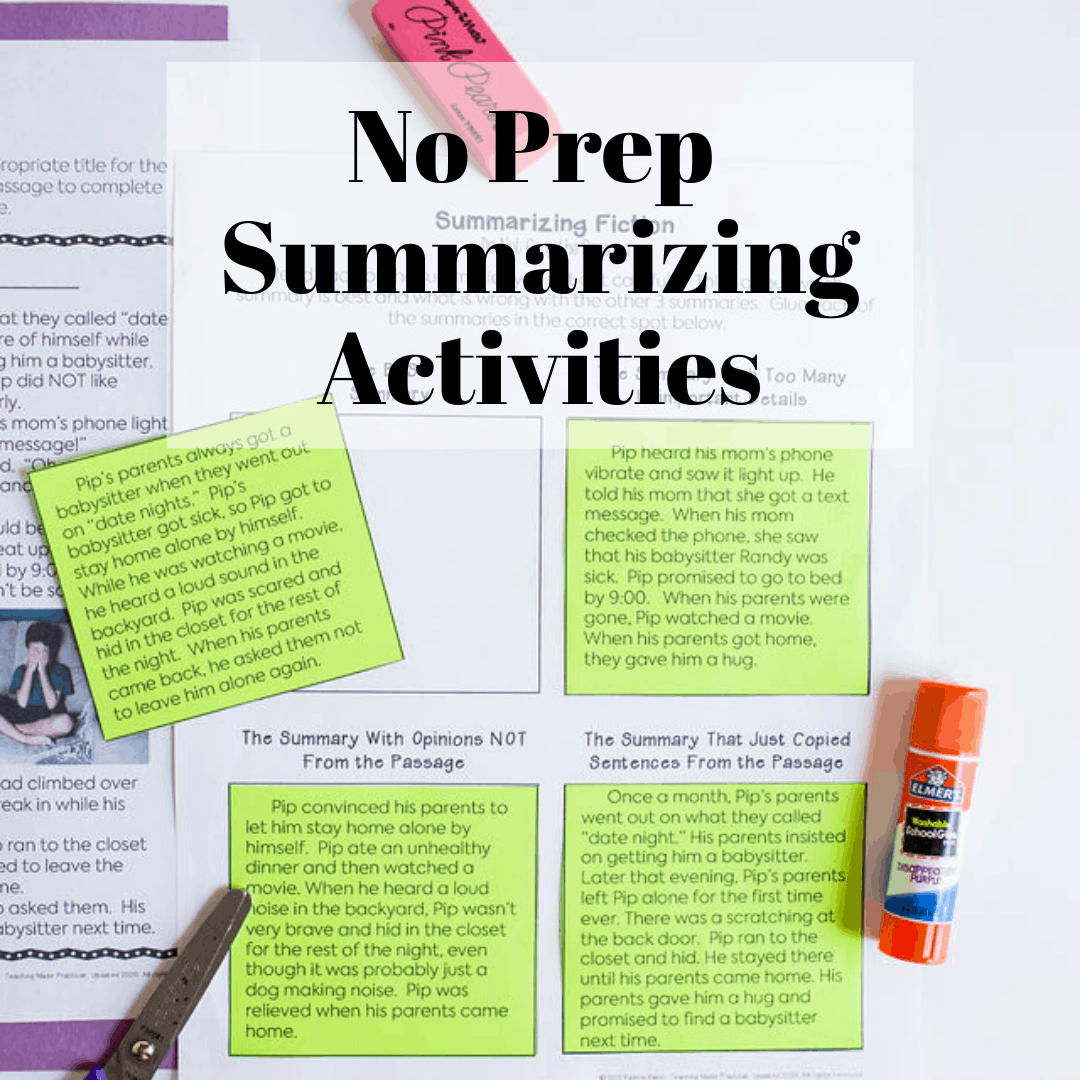 No Prep Summarizing Activities