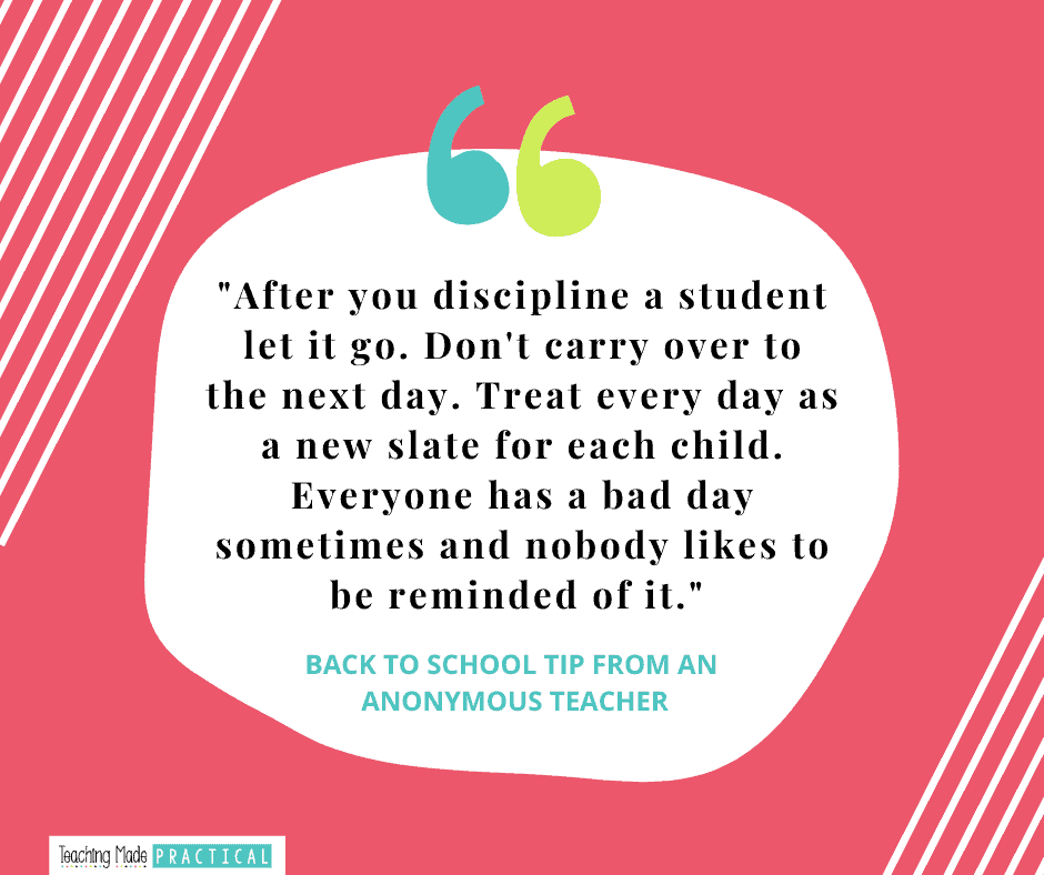 Back to School Teacher Tip - classroom management quote