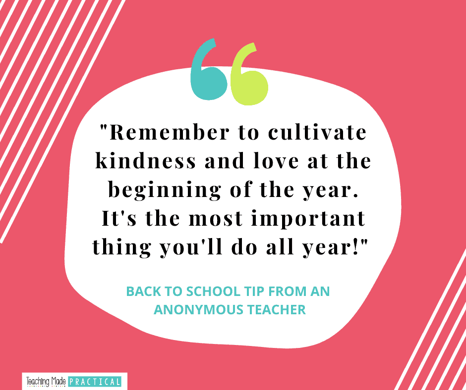 Back to School Teacher Tip for 3rd, 4th, and 5th grade teachers - Cultivate Kindness