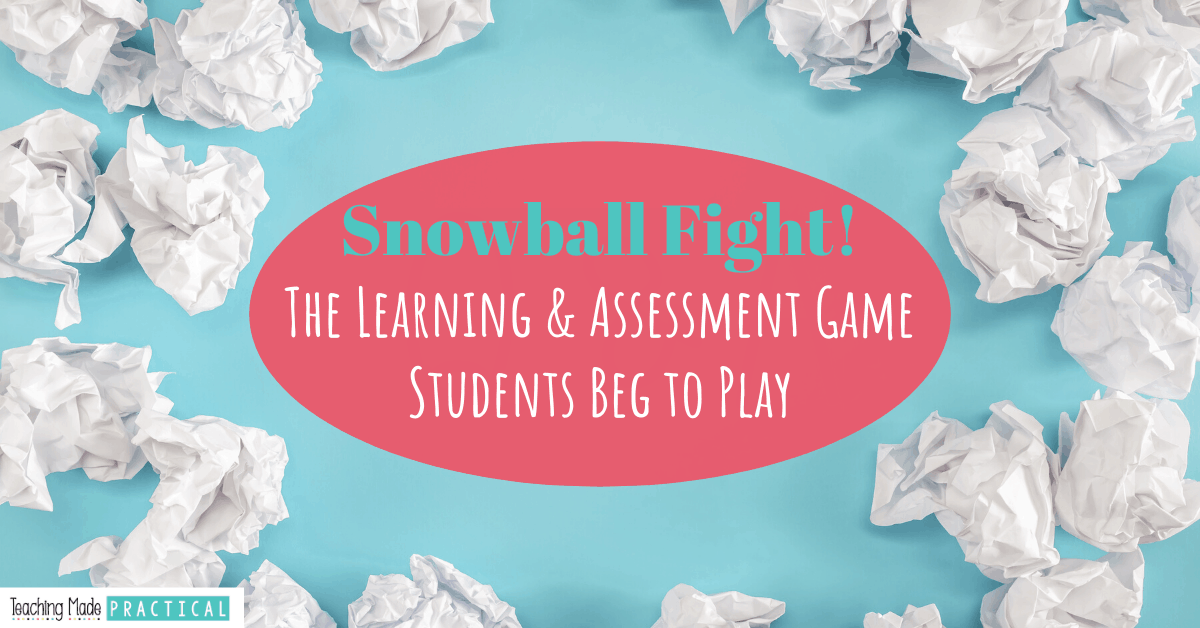 Having a paper snowball fight in the classroom is a fun activity to engage and assess 3rd, 4th, and 5th grade students
