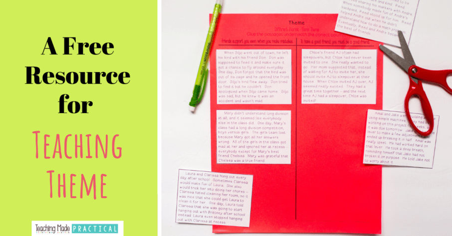 Free cut and paste resource for teaching theme in 3rd, 4th, and 5th grade