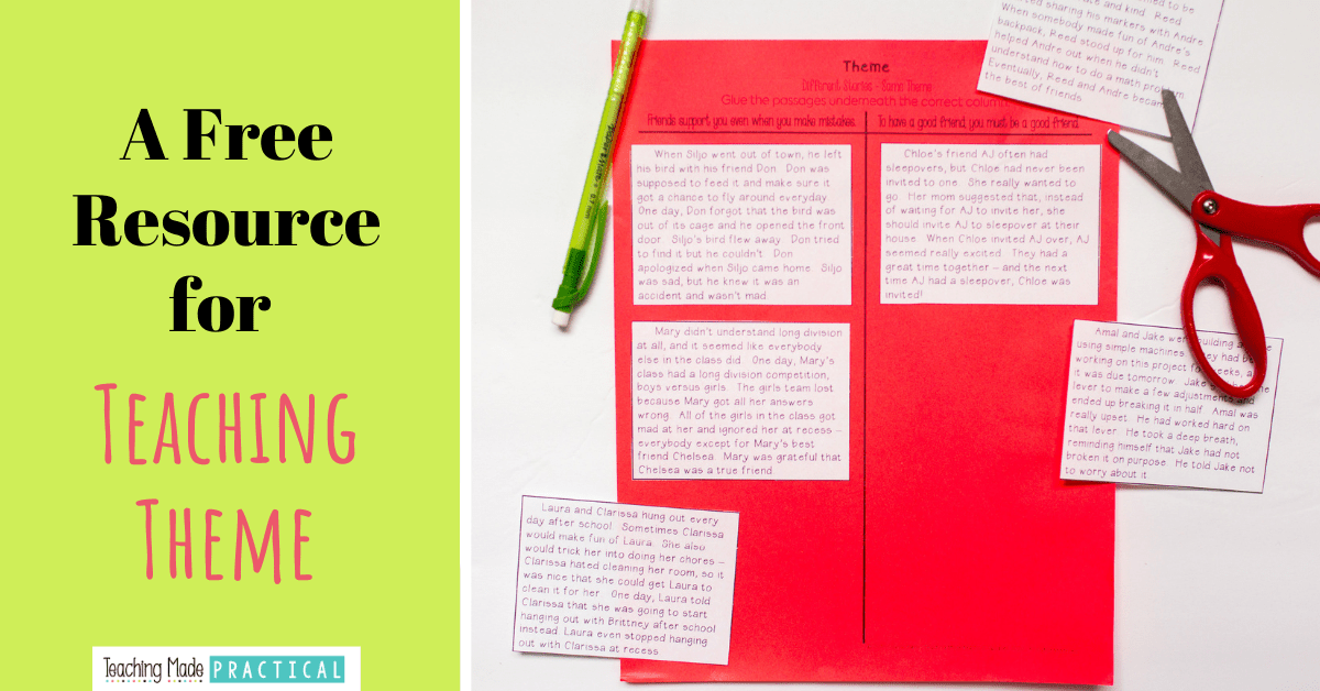 This cut and paste theme printable is no prep and is great theme practice for 3rd, 4th, and 5th grade students