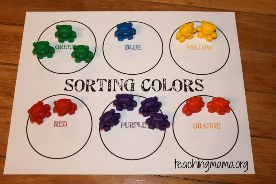 Hands On Math Activities for Preschoolers Color Sorting Mat